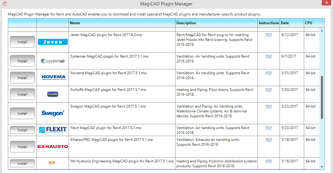 MagiCAD plugin manager