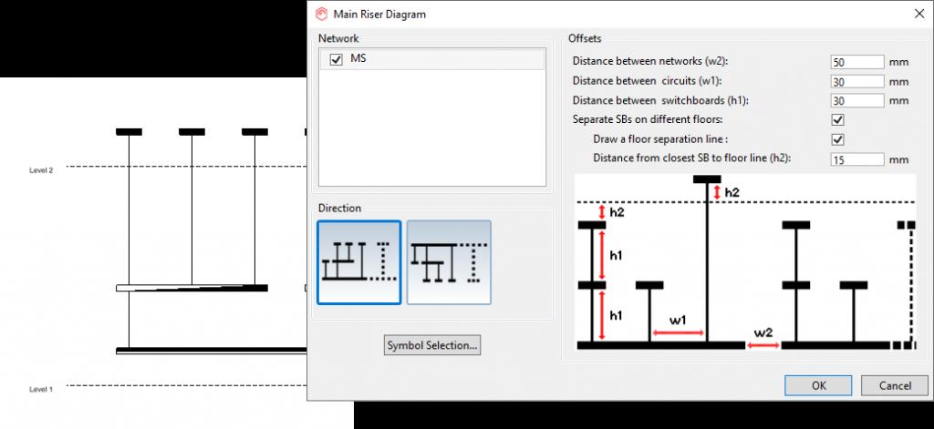 MagiCAD 2021 - Schematics - elektros tinklo skydų schemos