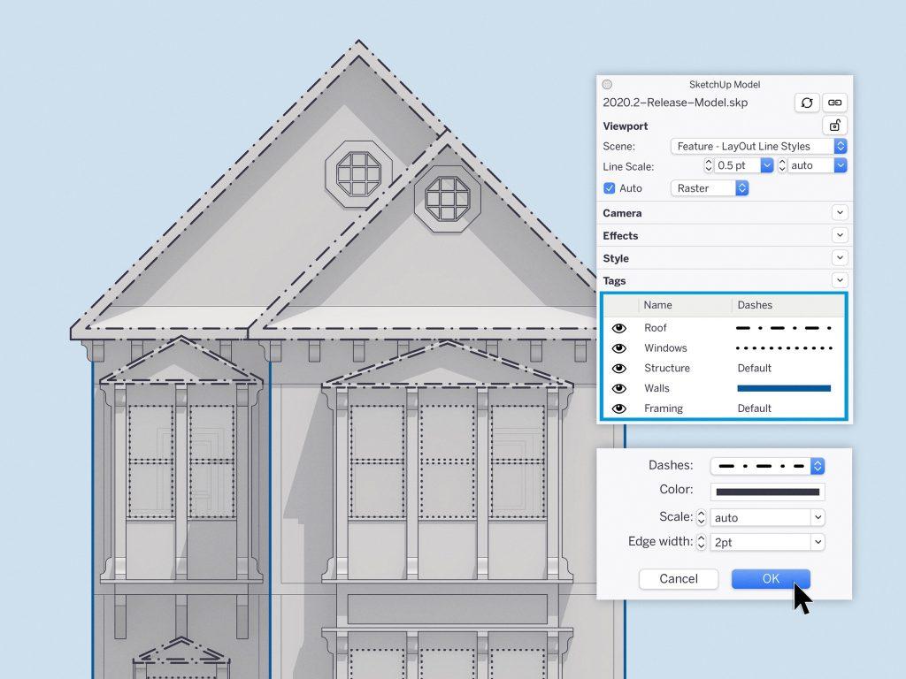 SketchUp 2020.2 3D modelio detalaus grafikos elementų stilių kontrolė